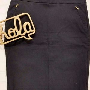 Limited Black Pencil Skirt With Gold Zippers